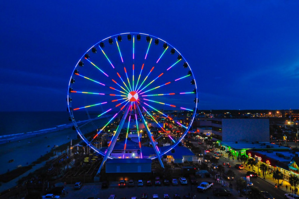 Located In The Center Of Oceanfront Boardwalk And Promenade Skywheel Offers A Birds Eye View Myrtle Beach Ride Averages About 8 10